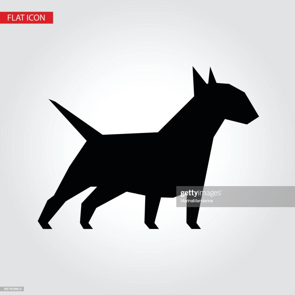 Bull terrier dog vector black silhouette.