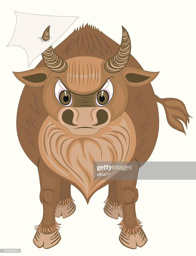 bull with blank paper