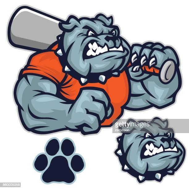 bulldog baseball pack - sports team stock illustrations