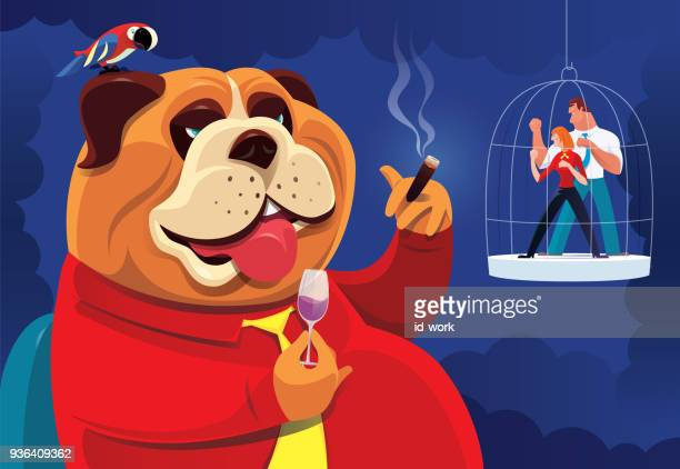 bulldog boss with caged business couple - office fight stock illustrations, clip art, cartoons, & icons