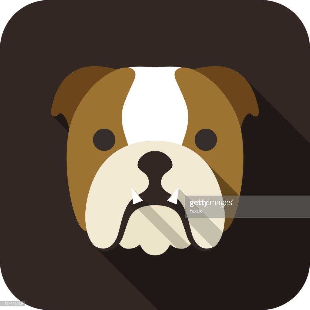 Bulldog dog face flat icon