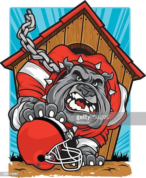 ilustraciones, imágenes clip art, dibujos animados e iconos de stock de fútbol de bulldog - caseta de perro