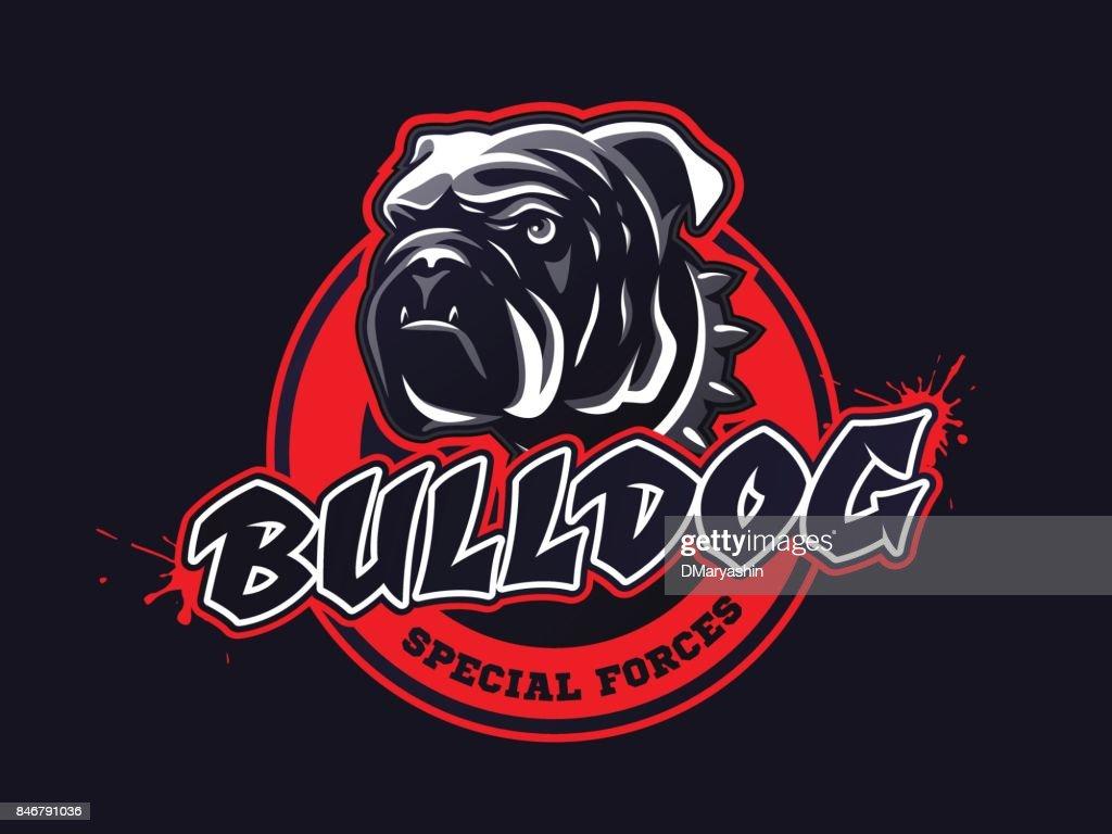 Bulldog head design, emblem on dark background. Tee print design. Vector illustration.