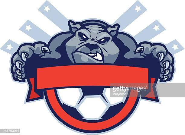 bulldog mascot soccer - aggression stock illustrations
