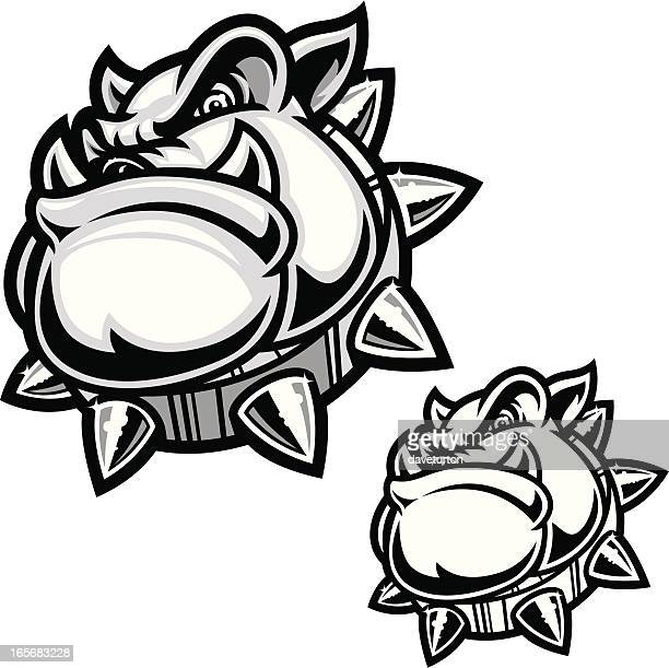 bulldog security protection - spiked stock illustrations, clip art, cartoons, & icons