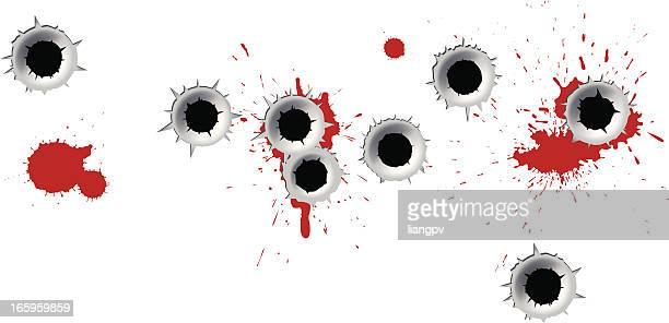 bullet holes - bullet hole stock illustrations