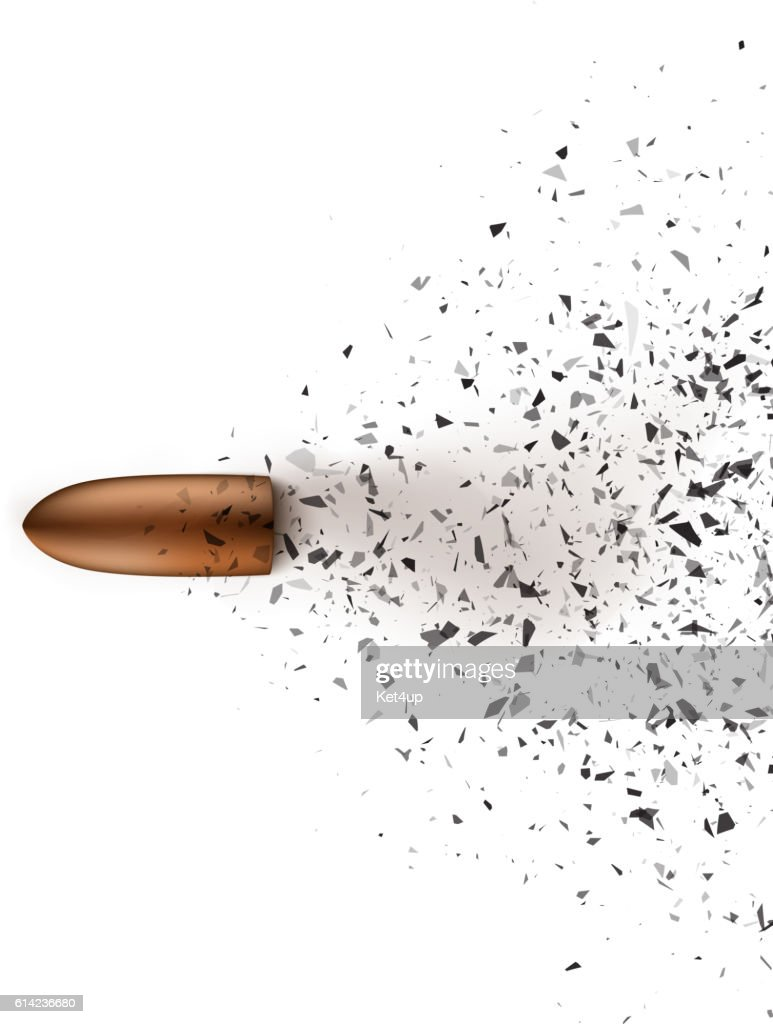 Bullet shot smashed the glass in the splinters. Vector