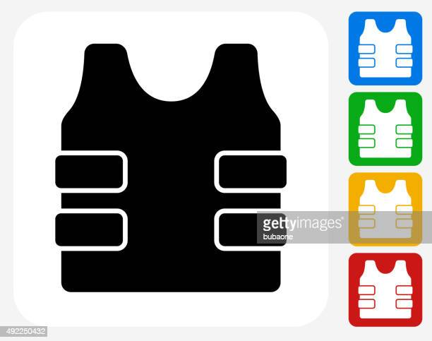Bulletproof Vest Icon Flat Graphic Design