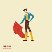 Bullfight, matador. Flat stylized icon Vector illustration in flat style with scuffed effect