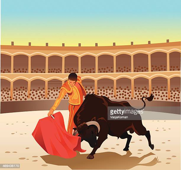 bullfighting - matador and bull contesting in the arena - clip art stock illustrations, clip art, cartoons, & icons
