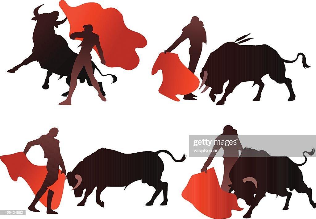 Bullfighting Silhouettes with Bull and Matador : stock illustration
