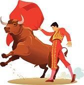 Bullfighting with Matador and Angry Bull