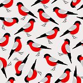 Bullfinch bird seamless pattern