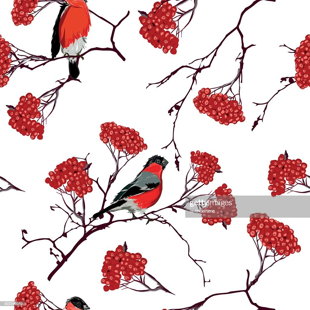 Bullfinches on mountain ash branches seamless vector pattern