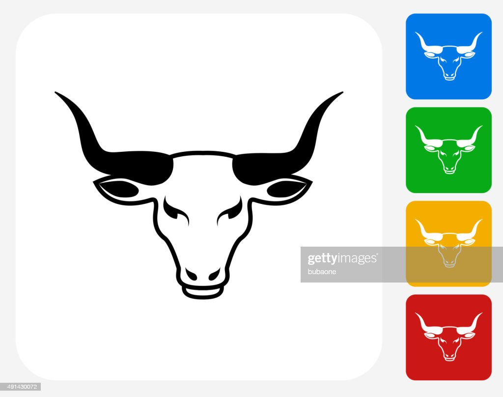 Bull's Head Icon Flat Graphic Design