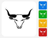 Bull's Head Icon Flat Graphic Design