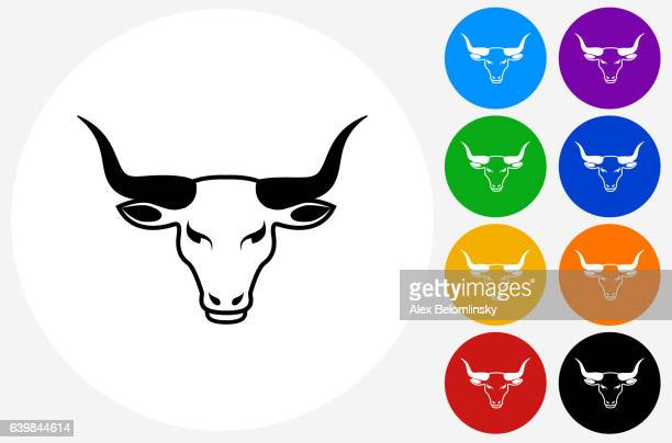 Bull's Head Icon on Flat Color Circle Buttons