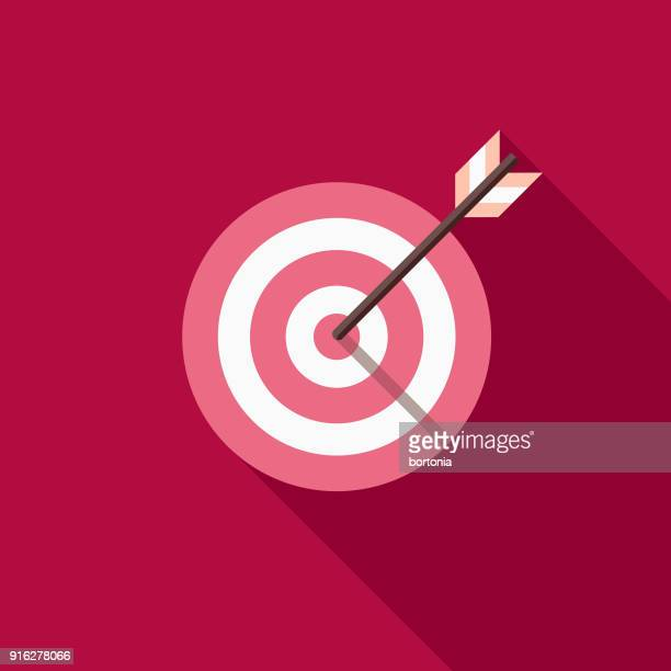 bullseye flat design valentine's day romance icon - aiming stock illustrations