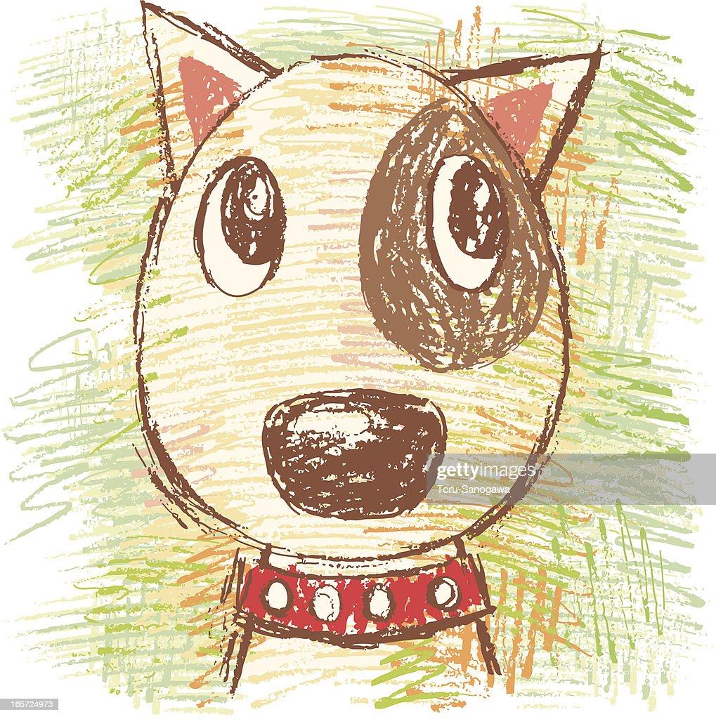 Bullterrier by hand-drawn