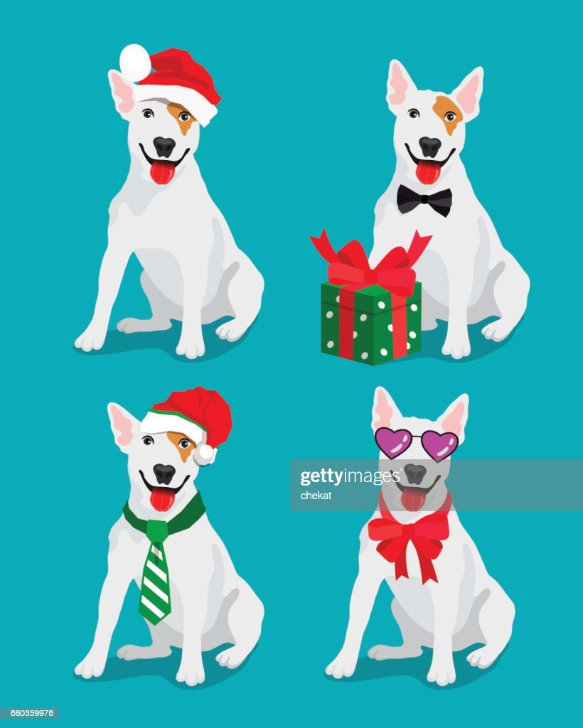 Bull-terrier dog in a New Year hat