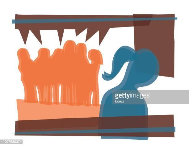 ilustraciones, imágenes clip art, dibujos animados e iconos de stock de acoso escolar - bullying escolar