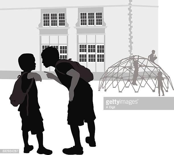 ilustraciones, imágenes clip art, dibujos animados e iconos de stock de acoso escolar - edificio de escuela primaria