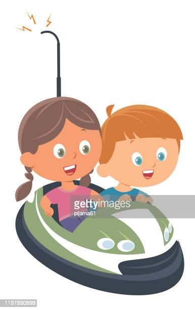 bumper car - green car crash stock illustrations