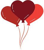 bunch balloons shaped heart love romantic