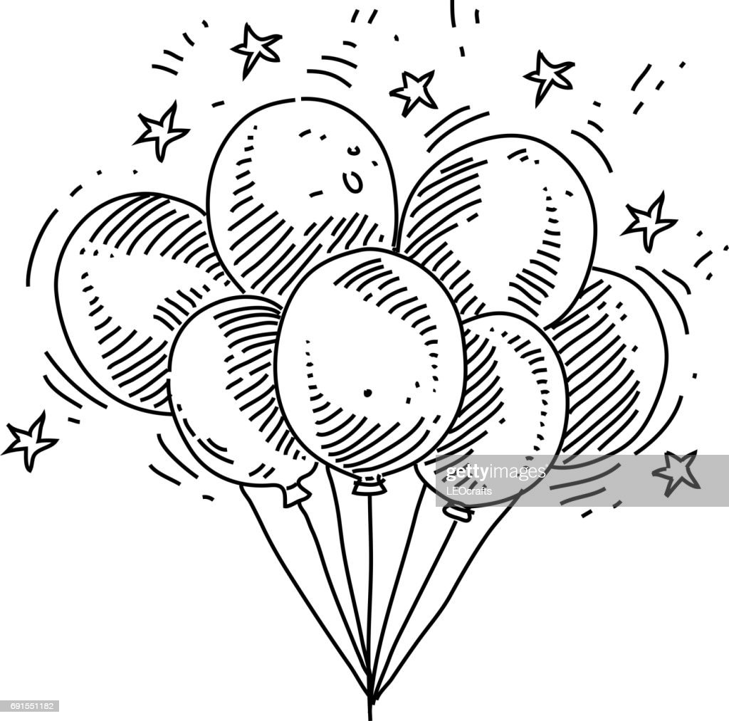 Bunch of Balloons Drawing : stock illustration