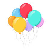 Bunch of balloons in cartoon flat style isolated on white background stock illustration