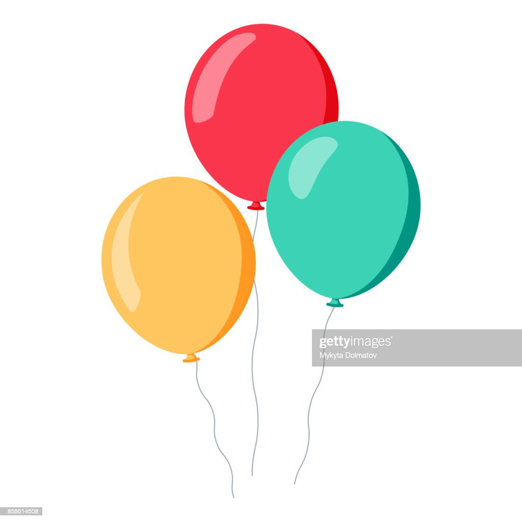 Bunch of balloons in cartoon flat style isolated on white background
