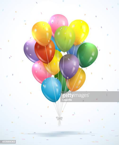 bunch of balloons - vector - balloon ride stock illustrations