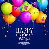 Bunch of colorful birthday balloons with stars and colorful buntings flags on blue background. Vector.