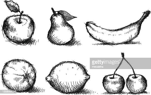 bunch of fruits. sketched. - banana stock illustrations, clip art, cartoons, & icons