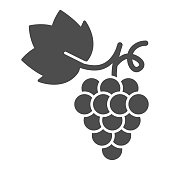 Bunch of grapes solid icon, summer concept, grapes sign on white background, Bunch of wine grapes with leaf icon in glyph style for mobile concept and web design. Vector graphics.