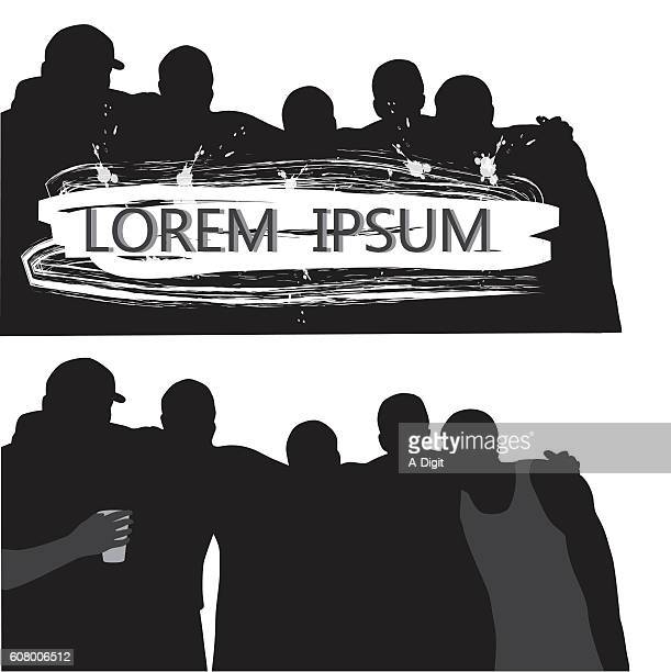 Bunch Of Guys Silhouette Vector