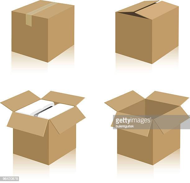 a bunch of illustrated boxes on white - closed stock illustrations, clip art, cartoons, & icons