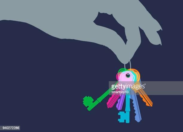 ilustraciones, imágenes clip art, dibujos animados e iconos de stock de racimo de llaves - propietario de casa
