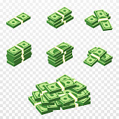 Bunches of money in cartoon 3d style. Set of different packs of dollar bills. Isometric green dollars, profit, investment and savings concept