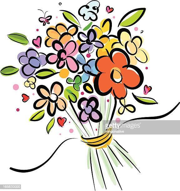 bundle flowers - bouquet stock illustrations