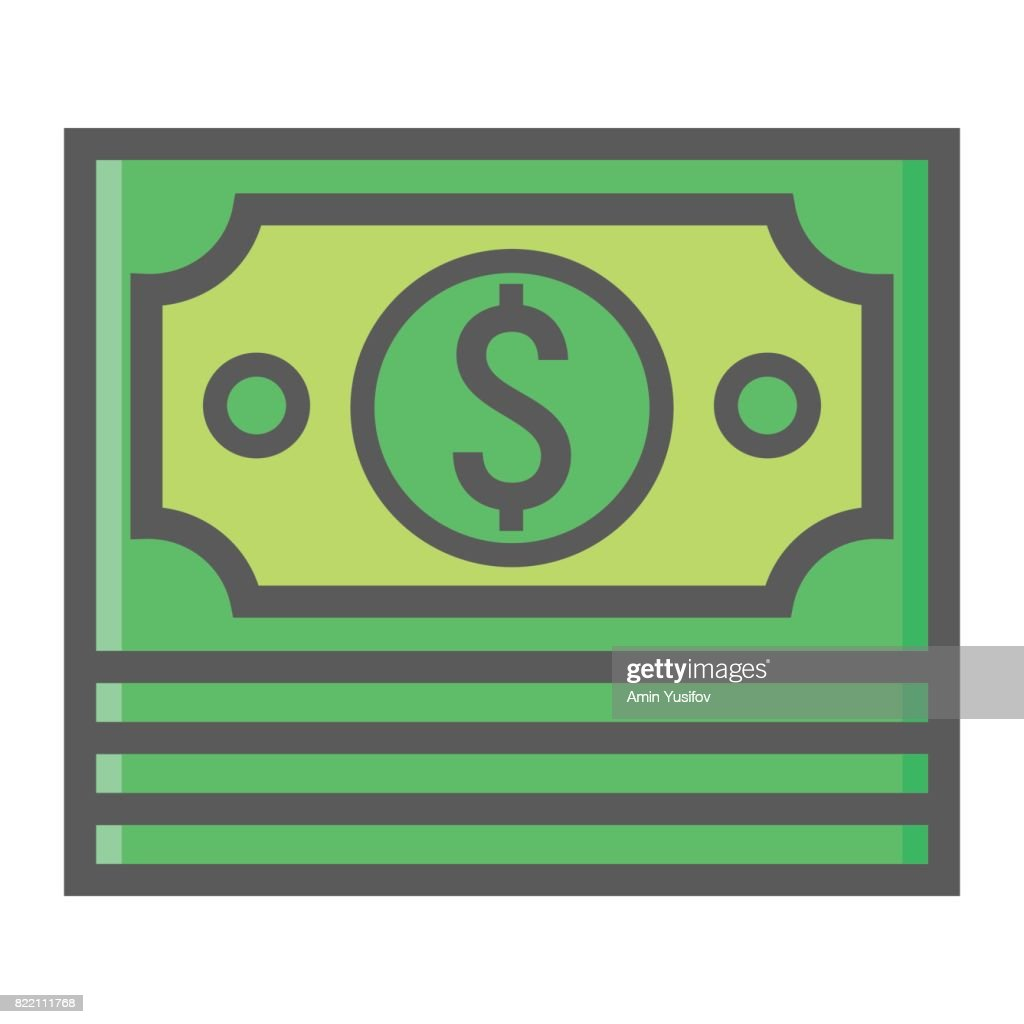 Bundle of money filled outline icon, business and finance, cash sign vector graphics, a colorful line pattern on a white background, eps 10.