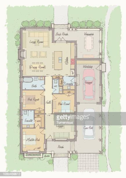 bungalow floorplan - architect stock illustrations