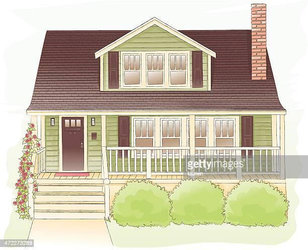 bungalow home - bungalow stock illustrations, clip art, cartoons, & icons