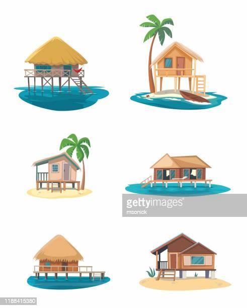 bungalow on white background - shack stock illustrations