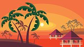 bungalows and palm trees