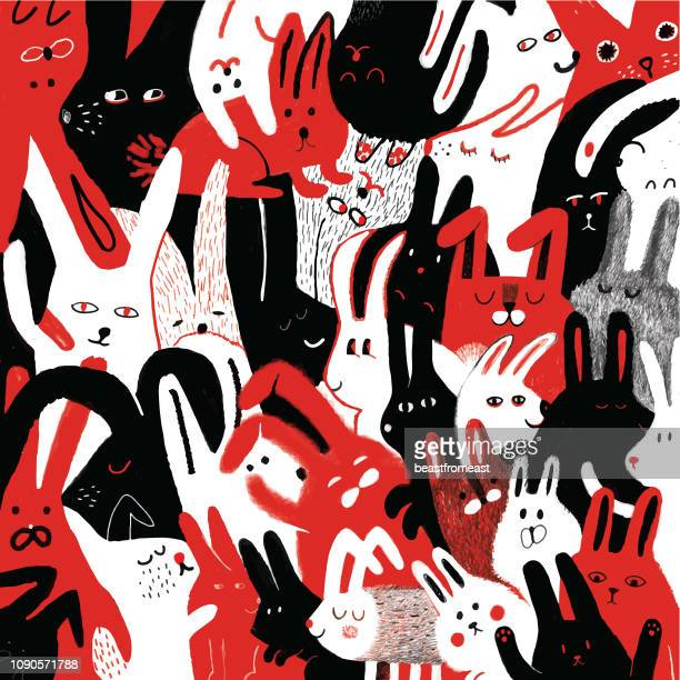 bunnies background pattern - group of animals stock illustrations, clip art, cartoons, & icons