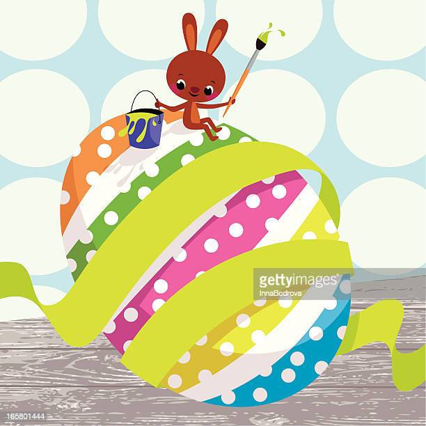 bunny and easter egg. - milk chocolate stock illustrations, clip art, cartoons, & icons