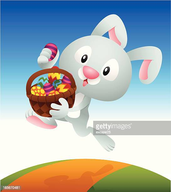 bunny carrying basket - easter bunny stock illustrations, clip art, cartoons, & icons