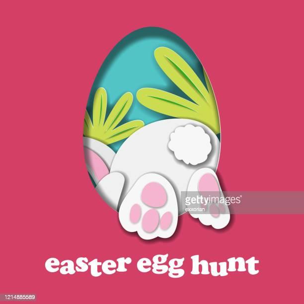 bunny egg hunt paper craft - naughty america stock illustrations