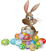 Bunny rabbit with Easter eggs basket